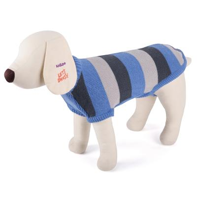 Kazoo Striped Knitted Blue Jumper Coat For Broad Chested Dogs XXS 27cm