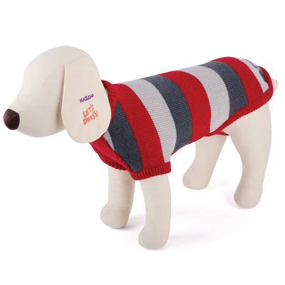 Kazoo Striped Knitted Red Jumper Coat For Broad Chested Dogs XLarge 66cm