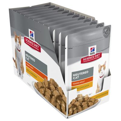 Hills Science Diet Neutered Young Adult Chicken Pouches Wet Cat Food 85gm x 12 (11095LG)