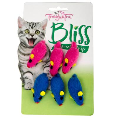 Trouble & Trix Bliss Mice Toy With Catnip For Cats 6 Pack