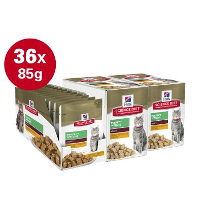 Hills Science Diet Perfect Weight Chicken Adult 1+ Pouches Wet Cat Food 85gm x 36