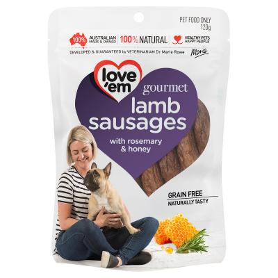 Love Em Gourmet Lamb Sausages With Rosemary And Honey Grain Free Treats For Dogs 120gm