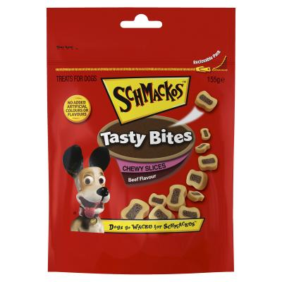 Schmackos Tasty Bites Chewy Slices Beef Treats For Dogs 155g