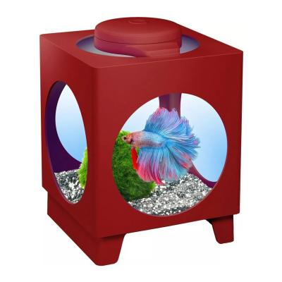 Tetra Betta Projector Aquarium Tank Bordeaux Wine Red With LED Light For Fish 1.8L