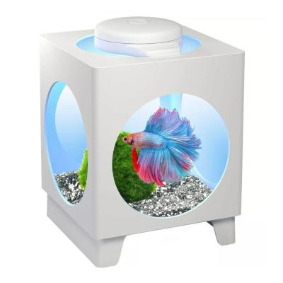 Tetra Betta Projector Aquarium Tank White With LED Light For Fish 1.8L