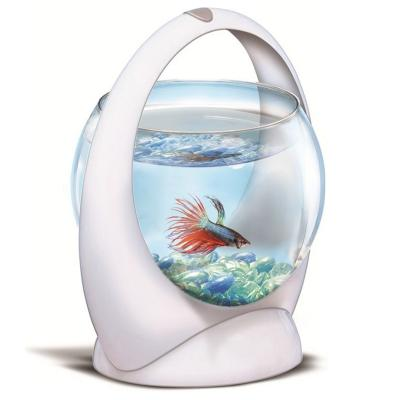 Tetra Betta Ring Aquarium Tank White With LED Light For Fish 1.8L