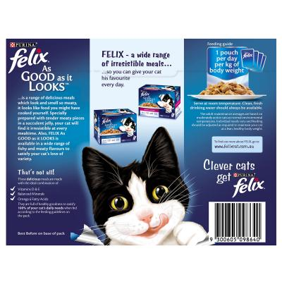Felix Multipack Favourite Selection Chicken Beef Salmon In Jelly Pouches Wet Cat Food 85gm x 12