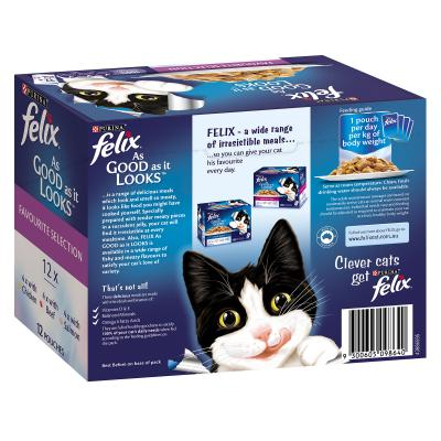 Felix Multipack Favourite Selection Chicken Beef Salmon In Jelly Pouches Wet Cat Food 85gm x 48