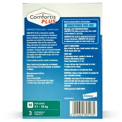Comfortis Plus For Dogs Green Medium 9.1-18kg 3 Pack