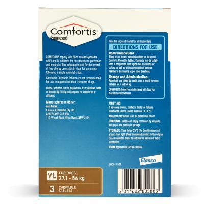 Comfortis For Dogs 27.1-54kg Brown 3 Tablets