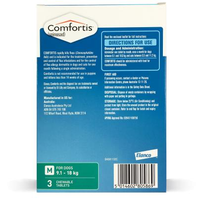 Comfortis For Dogs 9.1-18kg Green 3 Tablets