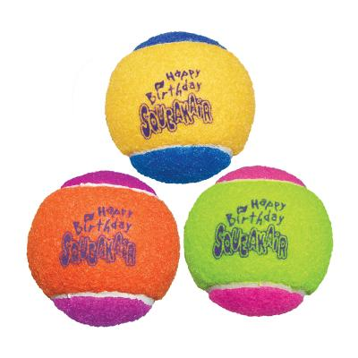 KONG SqueakAir Squeaker Birthday Balls Medium Nonabrasive Felt Toy For Dogs 3 Pack