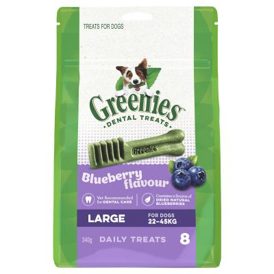 Greenies Dental Treats Blueberry Large For Dogs 22-45kg (8 Treats) 340g
