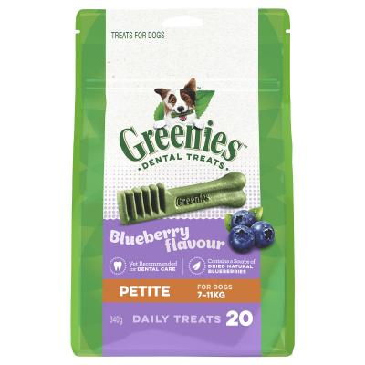 Greenies Dental Treats Blueberry Petite For Dogs 7-11kg (20 Treats) 340g