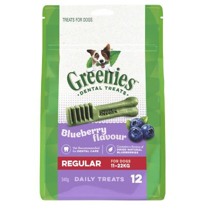 Greenies Dental Treats Blueberry Regular For Dogs 11-22kg (12 Treats) 340g