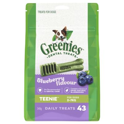 Greenies Dental Treats Blueberry Teenie For Dogs 2 - 7kg (43 Treats) 340g