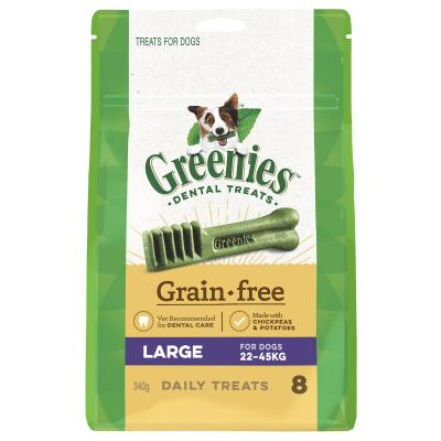 Greenies Dental Treats Grain Free Large For Dogs 22-45kg (8 Treats) 340g