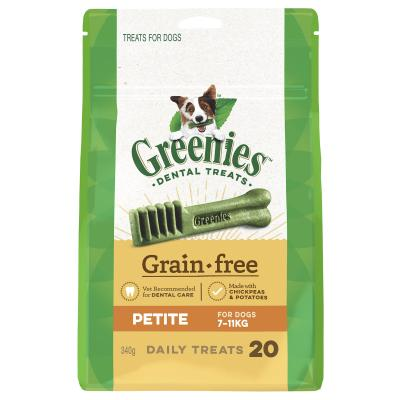 Greenies Dental Treats Grain Free Petite For Dogs 7-11kg (20 Treats) 340g