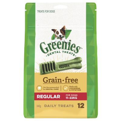 Greenies Dental Treats Grain Free Regular For Dogs 11-22kg  (12 Treats) 340g