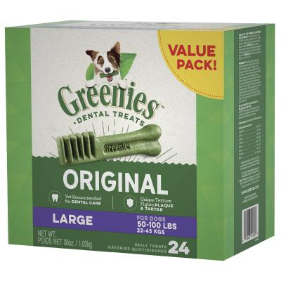 Greenies Dental Treats Original Large For Dogs 22-45kg (24 Treats) 1kg Value Pack