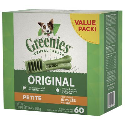 Greenies Dental Treats Original Petite For Dogs 7-11kg (60 Treats) 1kg Value Pack