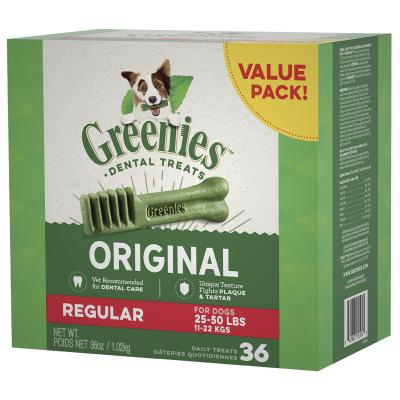 Greenies Dental Treats Original Regular For Dogs 11-22kg (36 Treats) 1kg Value Pack