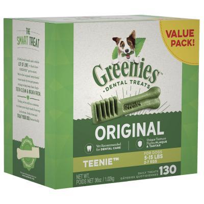 Greenies Dental Treats Original Teenie For Dogs 2-7kg (130 Treats) 1kg Value Pack