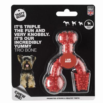 Tasty Bone Beef Nylon Trio Toy XSmall For Adult Dogs