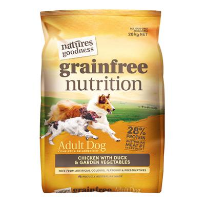 Natures Goodness Grain Free Chicken Duck And Garden Vegetables Dry Dog Food 20kg