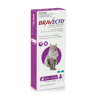 Bravecto Spot On For Cats Purple 6.25-12.5kg 2 Pack