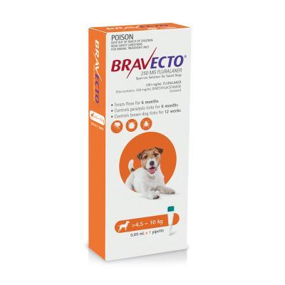 Bravecto Spot On For Dogs Orange 4.5-10kg 1 Pack