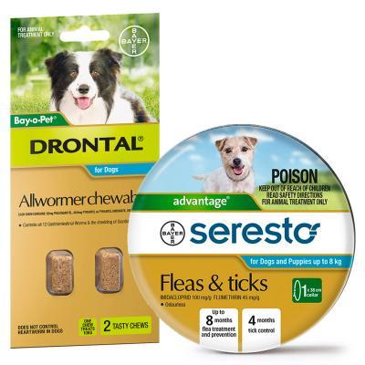 Advantage Seresto Flea And Tick Collar For Dogs Under 8kg + Drontal Allwormer For Dogs Medium 3-10kg 2