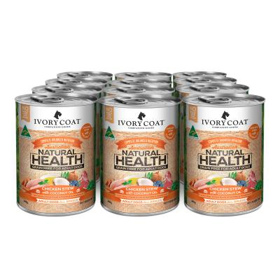 Ivory Coat Natural Health Chicken Stew with Coconut Oil Adult Wet Dog Food 400g x 12