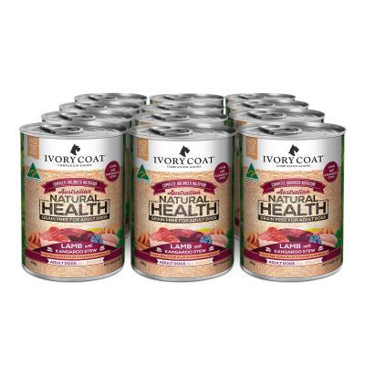 Ivory Coat Natural Health Grain Free Lamb And Kangaroo Stew Adult Wet Dog Food 400g x 12