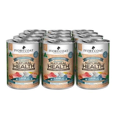 Ivory Coat Natural Health Grain Free Lamb And Sardine Stew Adult Canned Wet Dog Food 400g x 12