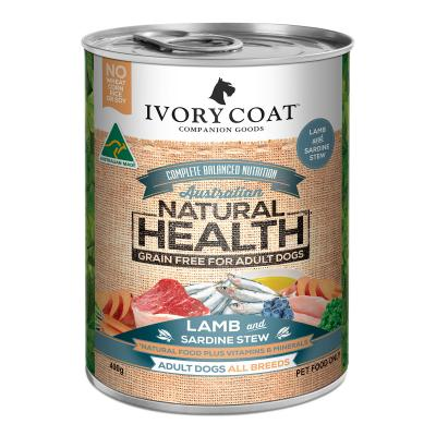 Ivory Coat Natural Health Grain Free Lamb And Sardine Stew Adult Wet Dog Food 400g x 12