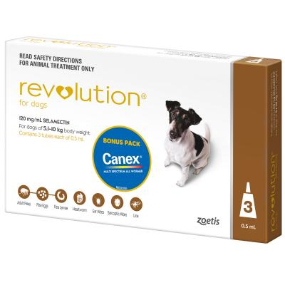 Revolution For Dogs 5.1-10kg Brown 3 Pack With Canex
