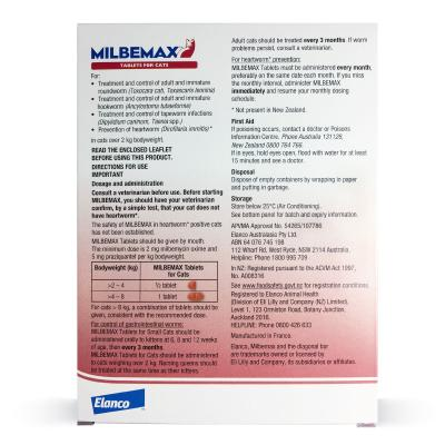 Milbemax Allwormer For Cats Over 2kg 20 Tablets