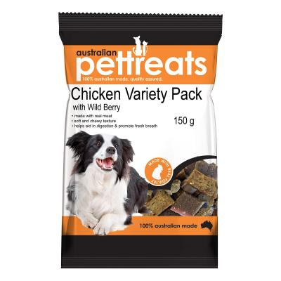 Australian Pettreats Chicken Variety Pack With Wild Berry Treats For Dogs 150gm