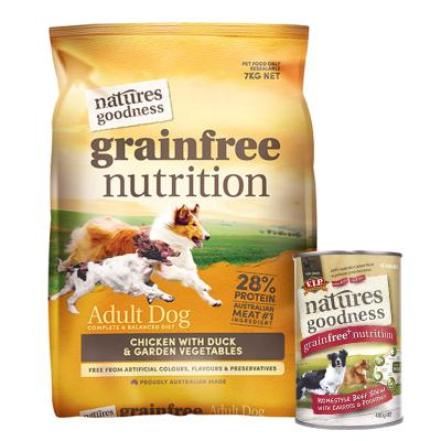Natures Goodness Bundle Grain Free Chicken Duck And Garden Vegetables Dry And Beef Wet Dog Food