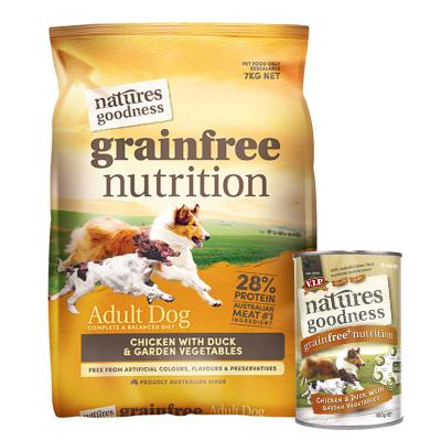 Natures Goodness Bundle Grain Free Chicken Duck And Garden Vegetables Dry And Chicken Wet Dog Food