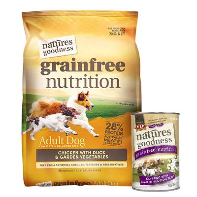 Natures Goodness Bundle Grain Free Chicken Duck And Garden Vegetables Dry And Kangaroo Wet Dog Food