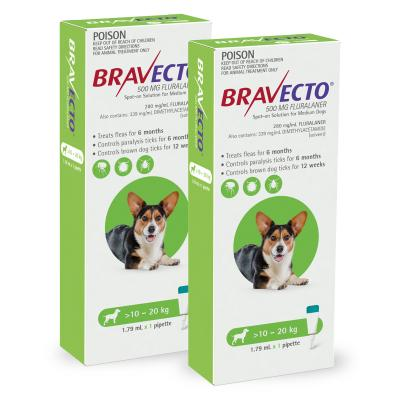 Bravecto Spot On For Dogs Green 10-20kg 2 Pack