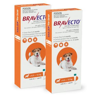 Bravecto Spot On For Dogs Orange 4.5-10kg 2 Pack