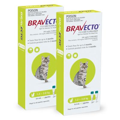 Bravecto Spot On For Cats Green 1.2-2.8kg 4 Pack