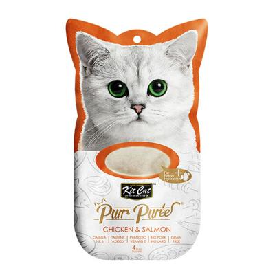 Kit Cat Purr Puree Chicken Salmon Paste Treats For Cats 4 x 15gm
