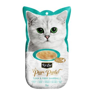 Kit Cat Purr Puree Tuna & Fibre (Hairball) Treats For Cats 4 x 15gm