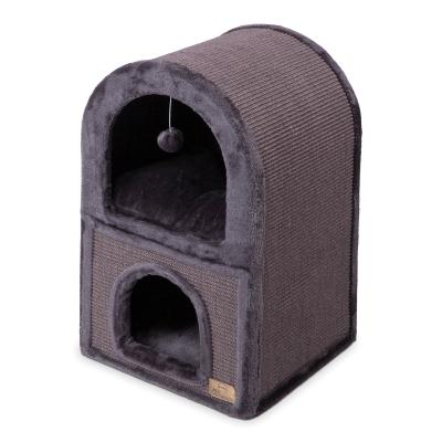 Kazoo 2 Chamber Den Cat Scratcher Charcoal With Ball Toy For Cats