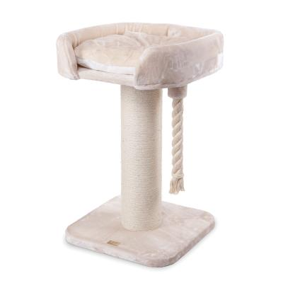 Kazoo High Bed Scratching Post Cream X Large With Rope Toy For Cats