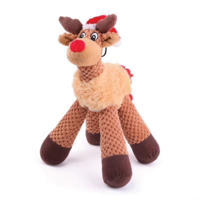 Kazoo Christmas Plush Four Legged Reindeer Medium Squeak Toy For Dogs